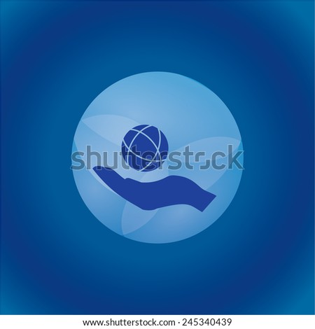 Icon of globe on hand - stock vector