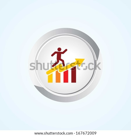 Icon of graph on Button. Eps-10. - stock vector