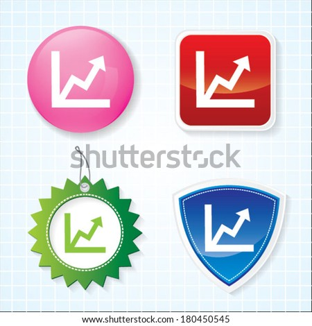 Icon of graph on four different buttons. eps-10. - stock vector