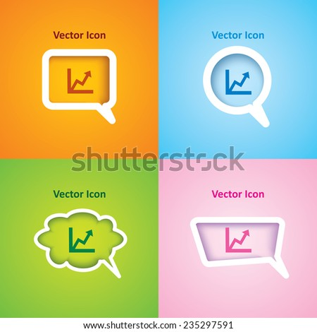 Icon of graph on four kinds of speech bubble with four different color beautiful background. Eps-10. - stock vector