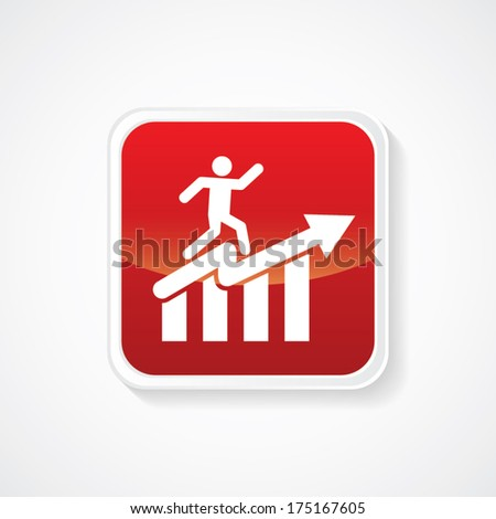 Icon of Graph with Man on Red Glossy Button. Eps-10 - stock vector