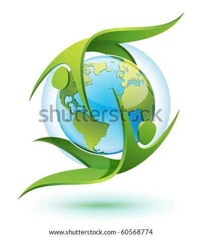 icon of Green Eco-people rotating around Earth - stock vector