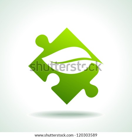 Icon of green puzzle piece, vector - stock vector