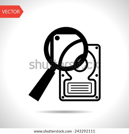 icon of hard disk search - stock vector