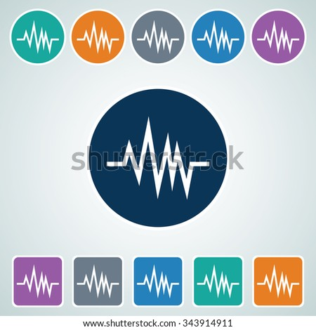 Icon of Heart Beat/Pulse in Multi Color Circle & Square Shape. Eps-10. - stock vector