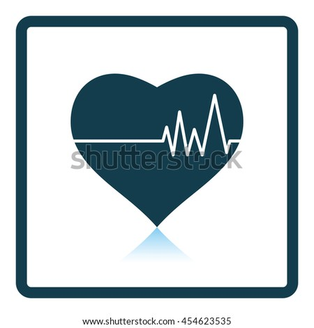 Icon of Heart with cardio diagram. Shadow reflection design. Vector illustration. - stock vector