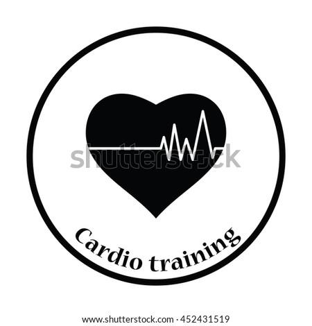 Icon of Heart with cardio diagram. Thin circle design. Vector illustration. - stock vector