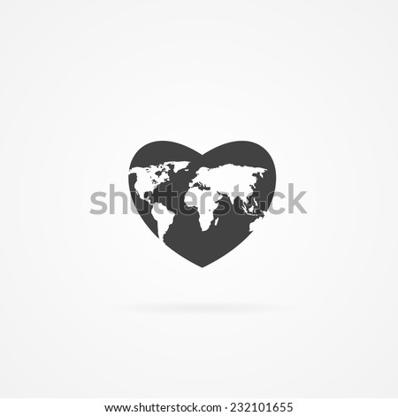 Icon of heart with world map inside. Shadow and white background. - stock vector