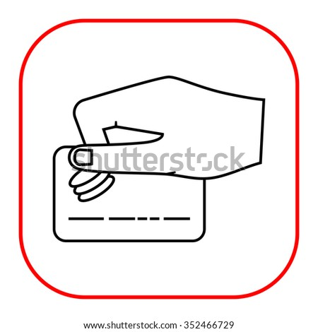 Icon of human hand holding credit card