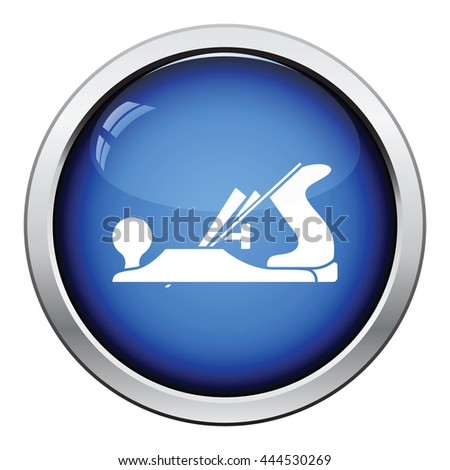 Icon of jack-plane. Glossy button design. Vector illustration. - stock vector