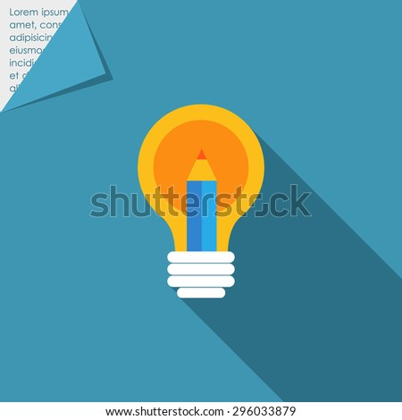 Icon of lightbulb and pencil - stock vector