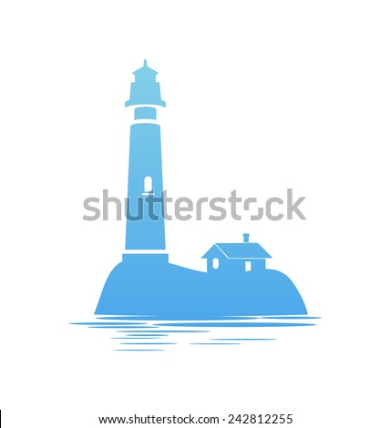 Icon of Lighthouse on white Background, Vector Illustration - stock vector