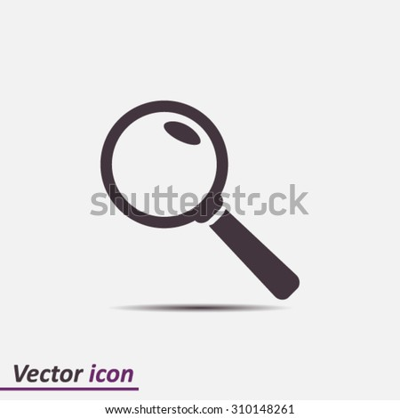 Icon of loupe. Search button .Magnifying glass. Flat design style. Vector EPS10. - stock vector