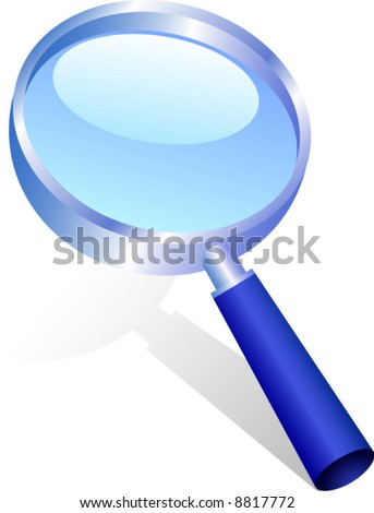 Icon of magnifying glass. Vector illustration. - stock vector
