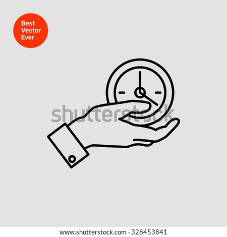 Icon of man hand holding clock - stock vector