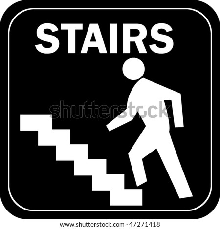 Icon of man on stairs - stock vector