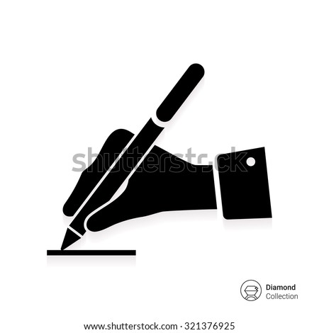 Icon of man's hand writing with pen - stock vector