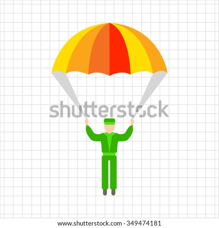 Icon of man's silhouette with parachute