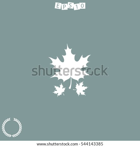 Icon of maple leaf on white background. All elements maple leaf for web design and decoration of greeting cards.