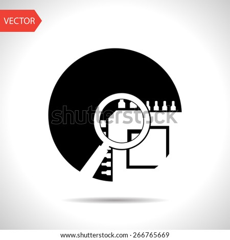 icon of microchip search - stock vector