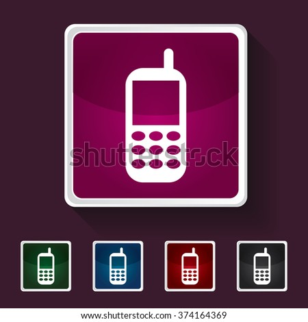 Icon of Mobile Phone on Multicolored Squares. Eps-10. - stock vector