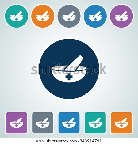 Icon of Mortar & Pastel in Multi Color Circle & Square Shape. Eps-10. - stock vector