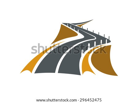 Icon of mountain road over a precipice with steep rocky slopes on both sides and concrete safety bollards receding into distance, suitable for transportation or travel design - stock vector