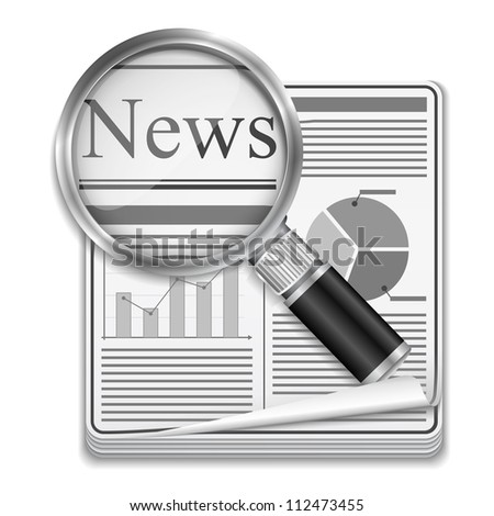 Icon of newspaper with magnifying glass, vector eps10 illustration - stock vector