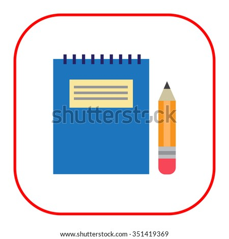 Icon of notepad with blue cover and pencil - stock vector