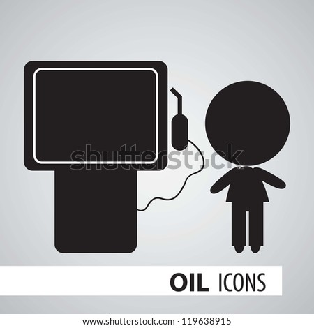 Icon of oil, gas station in black and white. - stock vector
