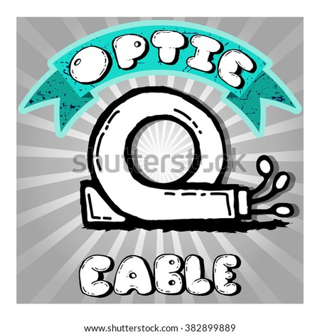 Icon of optic cable hand-drawn. Vector illustration - stock vector