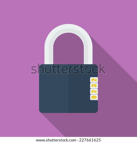 Icon of Padlock with code combination. Modern trendy flat style - stock vector