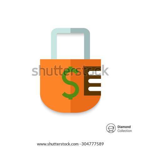 Icon of padlock with dollar sign - stock vector