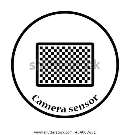 Icon of photo camera sensor. Thin circle design. Vector illustration. - stock vector