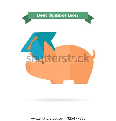 Icon of piggy bank wearing graduation cap  - stock vector