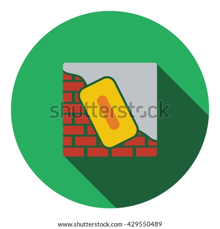 Icon of plastered brick wall . Flat design. Vector illustration. - stock vector