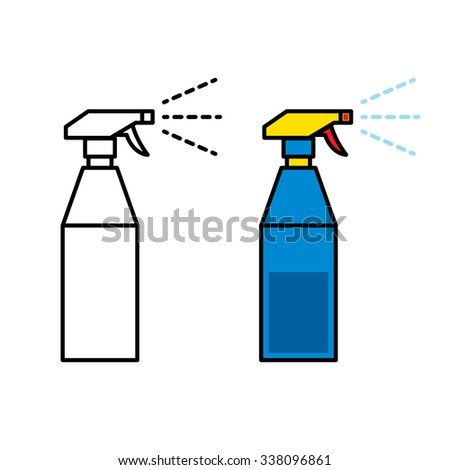 Icon of plastic spray bottle spraying water - stock vector