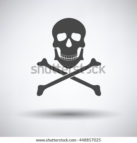 Icon of poison from skill and bones on gray background, round shadow. Vector illustration.