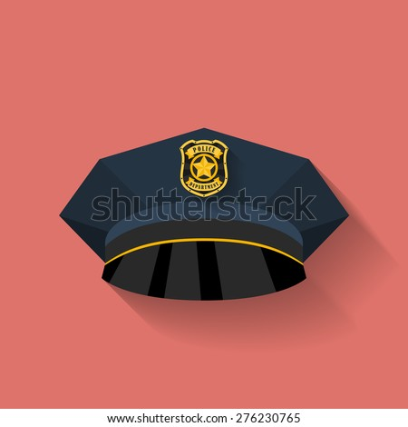 Icon of Police hat, cop hat. Flat style - stock vector