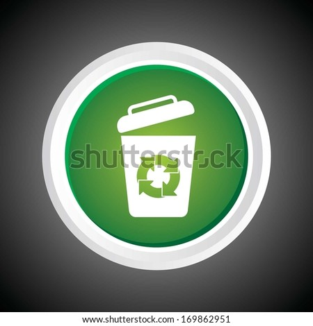 Icon of recycle Bin. garbage can. On Button. Eps-10. - stock vector
