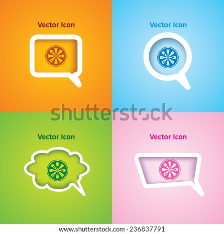 Icon of ripe lemon on four kinds of speech bubble with four different color beautiful background. Eps-10. - stock vector