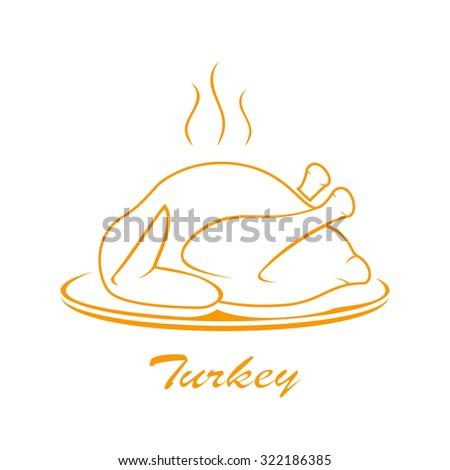Icon of roast turkey on plate isolated on white background, illustration. - stock vector