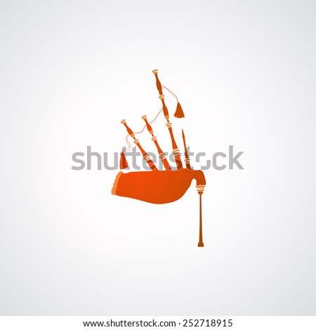 Icon of Scottish Great Highland Bagpipes on White background, Vector Illustration in EPS10 - stock vector