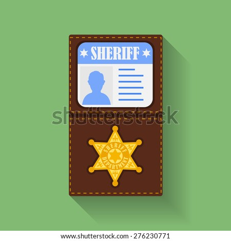 Icon of Sheriff Badge With Id Case, holder. Flat style  - stock vector
