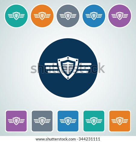 Icon of Shield & wings in Multi Color Circle & Square Shape. Eps-10. - stock vector