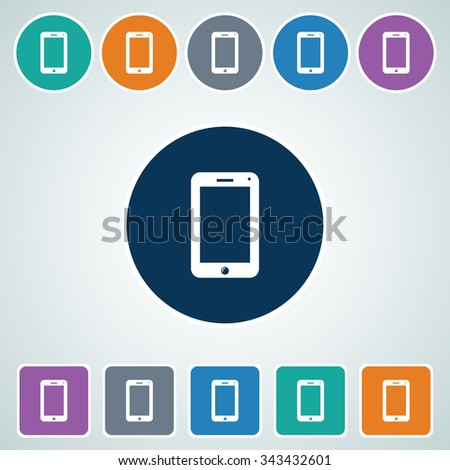 Icon of Smart phone in Multi Color Circle & Square Shape. Eps-10. - stock vector