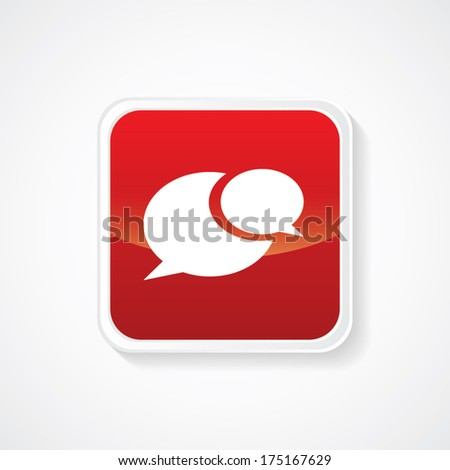 Icon of Speech Bubble on Red Glossy Button. Eps-10 - stock vector