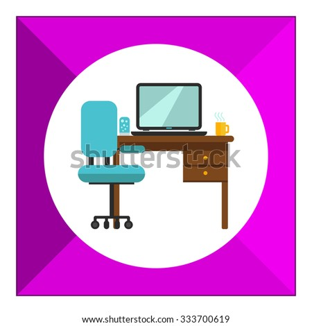 Table Chairs Icon Chairs Front Side Stock Vector 488655169