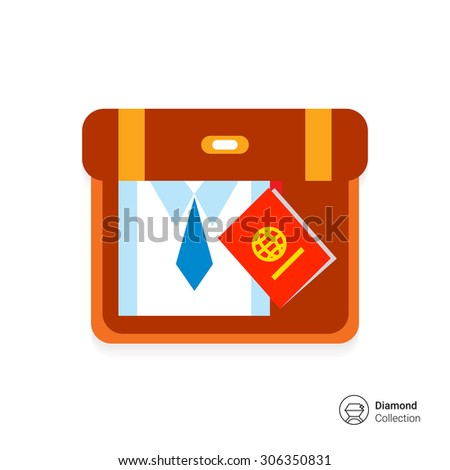 Icon of suitcase with folded shirt, necktie and passport - stock vector