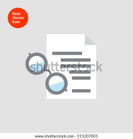 Icon of text document and spectacles  - stock vector
